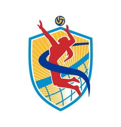 Volleyball Player Spiking Ball Shield vector image