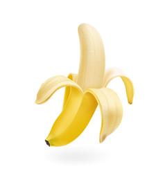 Half peeled banana isolated realistic vector