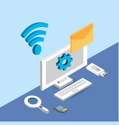 Computer with wifi network and e-mail mesage vector