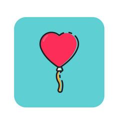 Flat color love balloon icon vector