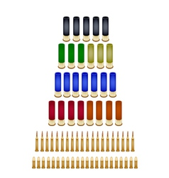 Set of various bullets on white background vector