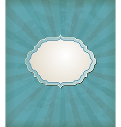 Blue vintage background with label vector image