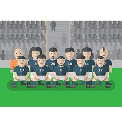 Soccer team before match flat graphic stand vector