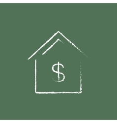 House with dollar symbol icon drawn in chalk vector
