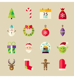 Flat winter merry christmas objects set vector