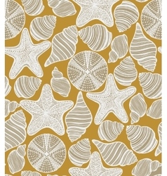Pattern with shells starfishes and urchins vector