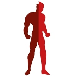 Red muscular man silhouette icon vector
