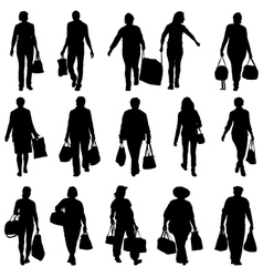 Black silhouettes mans and womans with bags vector