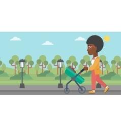 Mother walking with her baby in stroller vector