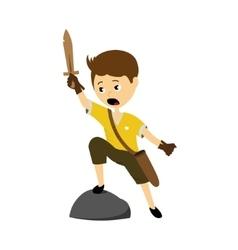 a boy with sword vector image vector image