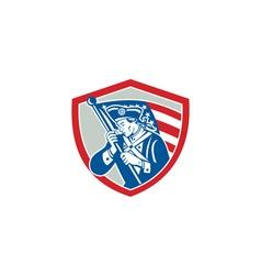 American Patriot Soldier Waving Flag Shield vector image