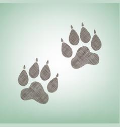 Animal tracks sign brown flax icon on vector