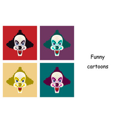 Assembly of flat icons on theme funny clowns vector