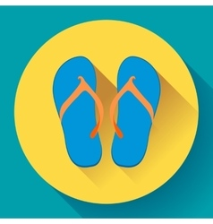 Beach sandals or slippers icon with long shadow vector