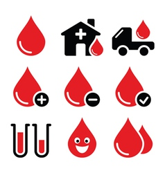 Blood donation icons set vector image vector image