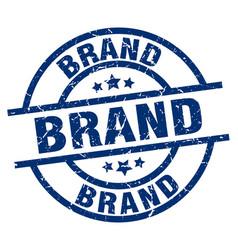 Brand blue round grunge stamp vector