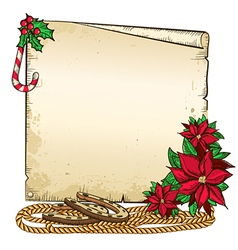 Christmas background with horseshoe and paper for vector image