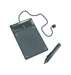 Computer drawing tablet with pen artistic vector