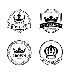 crown logos set luxury corona monograms vector image