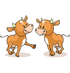 Cute brown cow standing isolated - vector image vector image