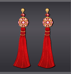 Earrings from beads of red and gold with tassels vector
