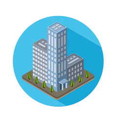 Flat isometric city real estate icon vector