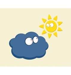 Funny cartoon sun and cloud looking vector image