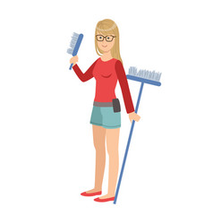 Girl with brush and broom cartoon adult vector