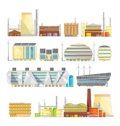 Industrial eco waste solutions flat icons vector