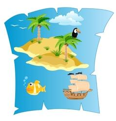 Island on card vector
