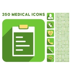 Pad text icon and medical longshadow icon set vector