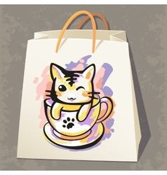 Paper bag with cat vector