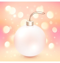 Pink christmas ball on shining bokeh effect vector