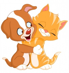 puppy and kitten vector image