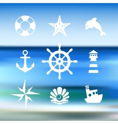 Sea icon collection isolated on a blue water vector image vector image
