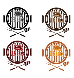 Set of bbq labels design template vector