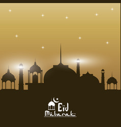 Sunset color background silhouette eid mubarak vector