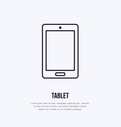 tablet with blank screen flat line style icon vector image vector image