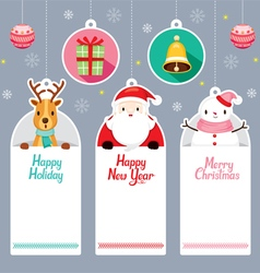 Tags Set With Santa Reindeer Snowman vector image vector image