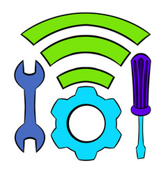 Tools and wifi icon cartoon vector