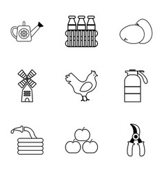 village farm icons set outline style vector image