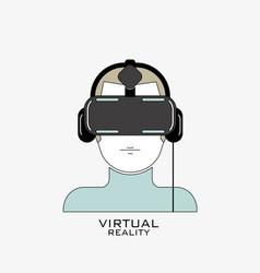 virtual reality headset icon flat line design vector image
