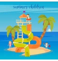 Water park summer vacation children vector