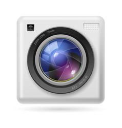 White camera icon lens on white background vector