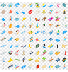 100 sand icons set isometric 3d style vector image