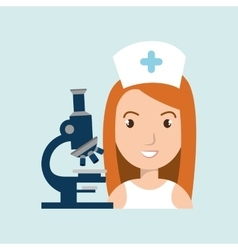 Nurse medical microscope woman vector