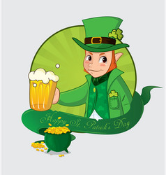 Cute cartoon leprechaun for saint patrick day vector