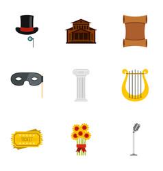 Opera icons set flat style vector
