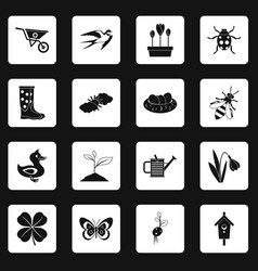 spring icons set squares vector image