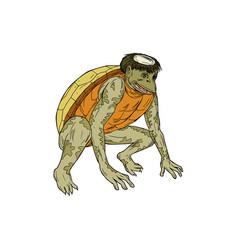 Kappa monster crouching drawing vector